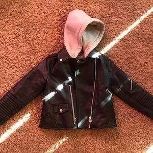Faux leather little girls jacket
